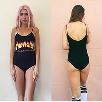 Spaghetti Strap Swimwear Print One Piece [10687482823]
