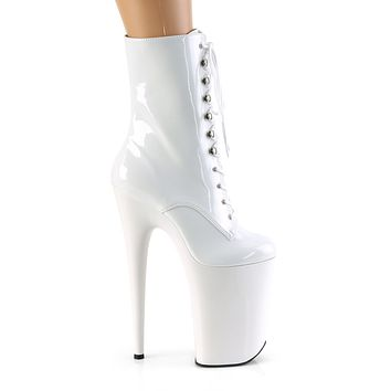 """Infinity 1020 White Patent 9"""" Heel Lace Up Ankle Boots - ETA 6/25"""