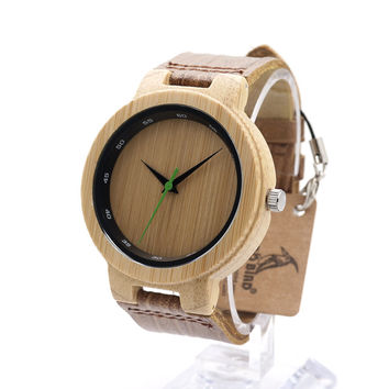 BOBO BIRD D17 Retro Bamboo Wooden With Mental Watches Luxulry Brand Designer Watch Leather Band marcas de relojes