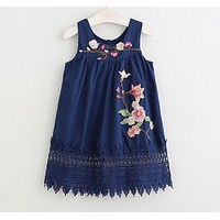 Summer Style Girls Clothes Sleeveless Cute Embroidery Design for Child kids Princess Dress