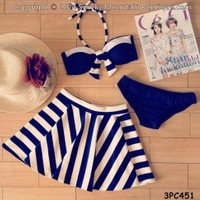Navy Blue & White Striped 3 Piece Swimsuit Set (XS/S/M) 451 - Smoky Mountain Boutique