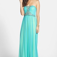 Way-In Beaded Strapless Mesh Gown (Juniors)