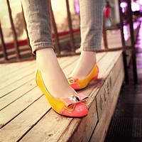 Patent Leather Women Pumps Bowtie Low Heeled Shoes Woman