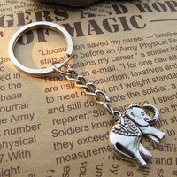 The elephant keychain animal key ring with charm chain jewelry personalized jewelry steampunk Unique gift