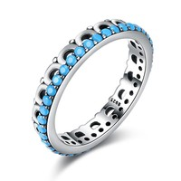 New Arrival 925 Sterling Silver Turquoise Stone Finger Rings for Women Trendy Geometric Party Birthday Fine Jewelry Gift HA29C