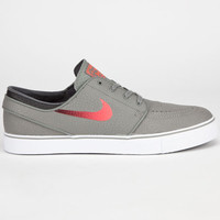 Nike Sb Zoom Stefan Janoski Leather Mens Shoes Medium Base Grey/Laser Crimson/Black  In Sizes