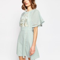 ASOS Embroidered & Lace Insert Skater Dress