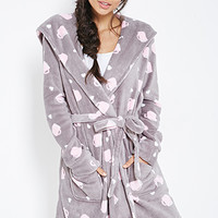FOREVER 21 Coffee Graphic Robe Grey/Pink