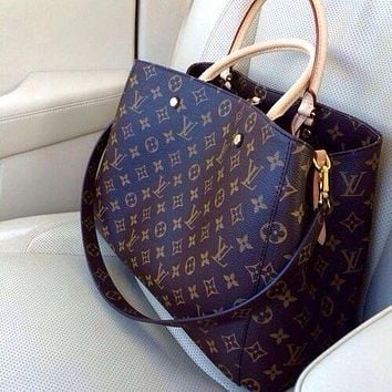 LV Louis Vuitton Women Shopping Bag Leather Tote Handbag Satchel Bag