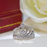 Princess Crown Promise Ring, Accent Tiara Rings for her, Man Made Diamond, 925 Sterling Silver, Stacked ring ( FairyParadise )
