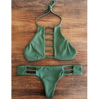 Attractive Solid Color Halter Hollow Out Bikini Set For Women