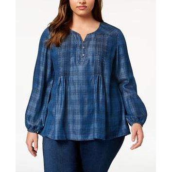 Style & Co Plus Size Plaid Swing Peasant Top