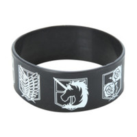 Attack On Titan Shields Rubber Bracelet