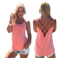 Womens Summer Tank Top Halter Vest +Summer Necklace