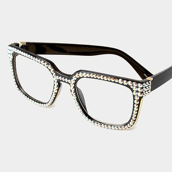 Rhinestone Retro Square Sunglasses