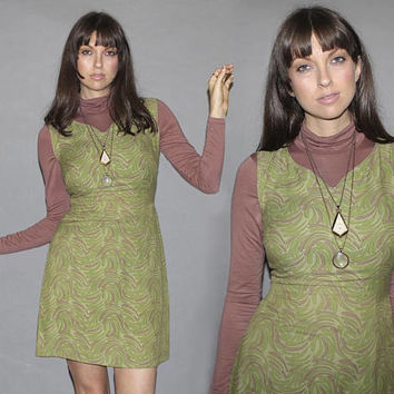 Vintage 60s Swirl Print MINI DRESS / Muted Sage Green Sleeveless Dress / Helicopter Leaves Print / Mod, Groovy, Festival / S M