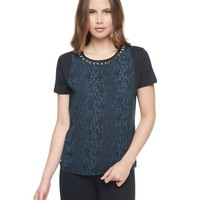 Pitch Black / Hunt Winter Python Mixed Fabric Tee by Juicy Couture,