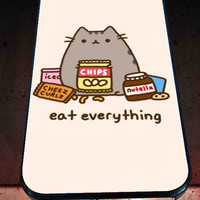Pusheen The Cat Eat Every Thing for iPhone 4/4s, iPhone 5/5S/5C/6, Samsung S3/S4/S5 Unique Case *76*