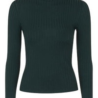 PETITE Rib Roll-Neck Top - Forest