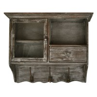 Distressed 3-Hook Cabinet Wall Decor