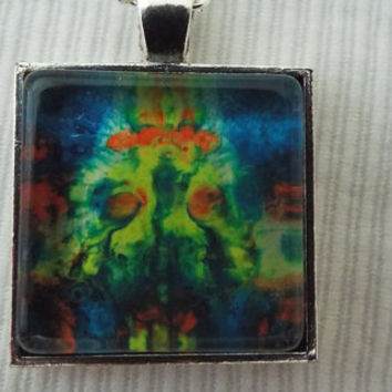 Abstract Dragon Square Pendant Necklace   FREE SHIPPING