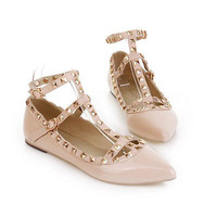 Lady's Fashion Punk Metal Studded Point Toes Ankle Strap Flats Causal Shoes Sz