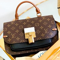 Hipgirls LV New fashion monogram print leather shoulder bag crossbody bag handbag Coffee