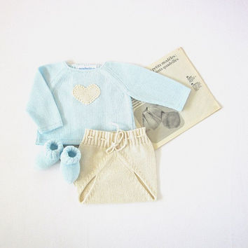 Knitted sweater with diaper cover - a cute pearl heart. 100% cotton. READY TO SHIP size newborn.