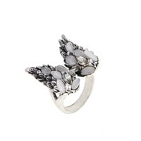 Dear Deer White Gold Plated Delicate Feather Wings Moonstone Cocktail Ring