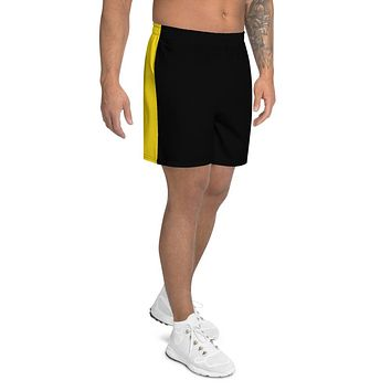 Gold And Black Men's Athletic Long Shorts