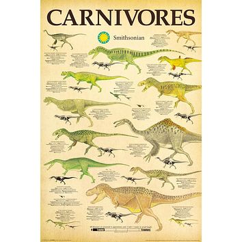 """Dinosaurs Carnivores Smithsonian Institution Poster (24""""x36"""")"""