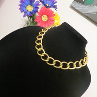 Large Smooth Link Gold Chain Necklace - Thick Chunky Chain Large Twist Link Necklace, Statement jewelry, cuff, choker necklace