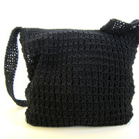 Vintage small black woven bag. shoulder purse. boho bag / crochet knit handbag