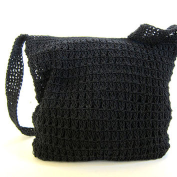 Crochet Small Bag : Vintage small black woven bag. shoulder purse. boho bag / crochet knit ...