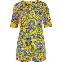 River Island Womens Yellow paisley print Romper