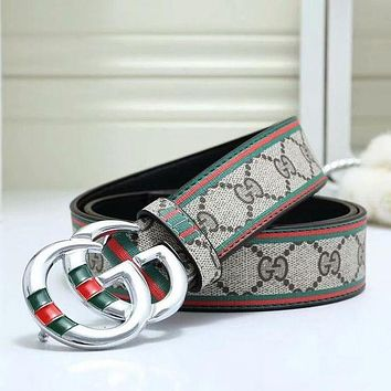 GUCCI GG Men Woman Fashion Smooth Buckle Leather Belt