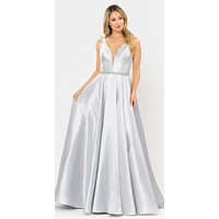 V-Neck and Back Silver Long Prom Dress with Pockets