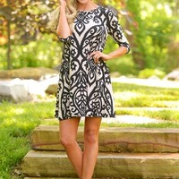 Love Song Shift Dress - Black/Taupe