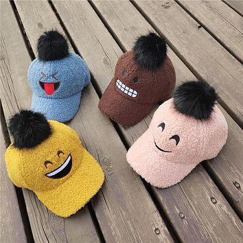 Children's Baseball Caps Autumn And Winter Baby Hats Fur Balls Boys And Girls Cute Expression Hats Wild Caps Tide