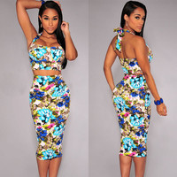 Floral Print Halter Bodycon Two Pieces Dress