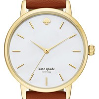 kate spade new york 'metro' round leather strap watch, 34mm   Nordstrom