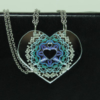 Friendship heart puzzle pendants 3 piece necklace set Silver Mirror acrylic