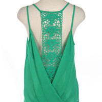 LUCKY IN LOVE Green Open Back Crochet Top - Shop Simply Me Boutique – Simply Me Boutique
