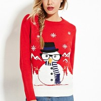 Seiwnibu New autumn winter pullover sweaters women cute snowman ugly christmas sweater red christmas sweater new year sweater