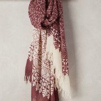 Hilltops Wool-Silk Scarf by Anthropologie in Wine Size: One Size Scarves