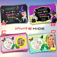 Frozen  Hallowen and Caterpillar Baby Kid - Invitation Card - Birthday Party Kids - InviteKids