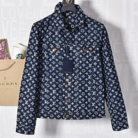 Louis Vuitton LV Popular Women Men Personality Jacquard Denim Cardigan Jacket Coat
