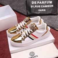 Versace Gold Fashion Casual Low Help Flat Running Sports Shoes Sneakers