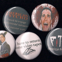 """AMERICAN PSYCHO Pins Buttons Badges christian bale cult film 1"""" pinback"""