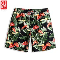 Mens swimwear sweat liner boardshorts praia flowers swimsuits men plavky bathing suits beach surfwear mens water sports